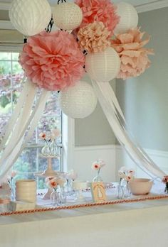 cover chandelier with pompoms, paper lanterns, and streamers for baby shower or wedding shower Fiesta Shower, Shower Party, Shower Favors, Shower Invitations, Ticket Invitation, Shower Cakes, Shower Gifts, Wedding Invitations, Bridal Shower Decorations