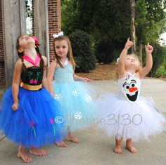 Do you want to build a snowman!? These Frozen Inspired tutu dresses are sure to bring a big smile and a lot of fun and wonder to your little girl! Whether your little girl loves Anna, Elsa, or Olaf - this inspired line of tutus will be the perfect addition for your sweet girl to dream and play!  This listing is for the character of your choice from our adorable, handmade Anna, Elsa or Olaf Inspired Tutu Dress line. Each tutu is made to order in our studio when you purchase it…