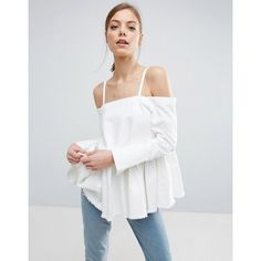 ASOS Denim Cold Shoulder Top With Pleated Peplum and Cuff Detail (705.960 IDR) ❤ liked on Polyvore featuring tops, white, white pleated top, white cut out shoulder top, denim top, peplum tops and tall tops