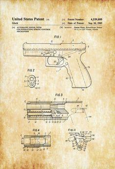 Glock Pistol Patent 1985 - Patent Print Wall Decor Gun Art Firearm Art Glock Patent Glock Firearm Patent Firearm Patent Gun Patent by PatentsAsPrints Wall Prints, Poster Prints, Blue Prints, Arte Dc Comics, Gun Art, Patent Drawing, Patent Prints, Silk Screen Printing, Firearms