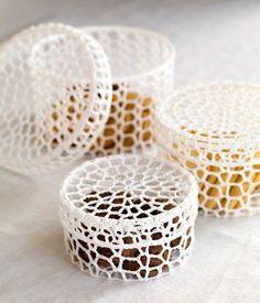 Beautiful crochet trinket boxes