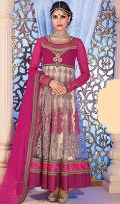 Beige and Pink Net Long Anarkali Suit Price: Usa Dollar $138, British UK Pound £81, Euro102, Canada CA$150 , Indian Rs7452.