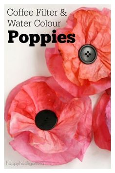 Easy Poppy Crafts for Kids to Make for Veterans Day and Remembrance Day Kaffeefilter und Aquarell Mohn Poppy Craft For Kids, Crafts For Kids To Make, Art And Craft, Art For Kids, Kids Crafts, Coffee Filter Art, Coffee Filter Crafts, Coffee Filters, Coffee Filter Flowers