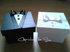 Caixa de MDF tamanho 10 x 10 personalizadas com noivinho ou noivinha. Ideal para convidar os padrinhos. <br> <br>O VALOR É REFERENTE À 1 UNIDADE.