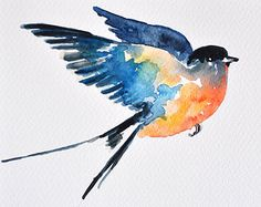 watercolor sparrow flying - Google Search