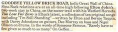 John, Elton / Too Low For Zero is Elton's Latest | Magazine Article (1983)
