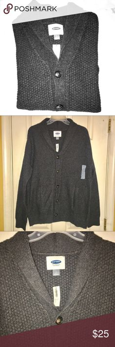 NWT! Men's L gray sweater NWT! Bought for my fiancé for Christmas and was not the right fit ... too late to take back so figured posh it! Super cozy button down men's medium to dark gray sweater. Offers welcome, bundle to save 20% or more! Old Navy Sweaters Cardigan