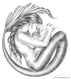 Mermaid & Child Selena Fench.  If I were to get a tattoo this would be it.
