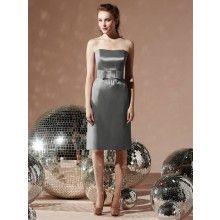 TYAD165 Matte Satin Strapless cocktail length Grey Evening Dresses