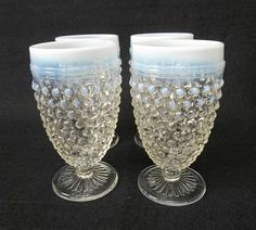 Anchor Hocking Moonstone hobnail water goblets from 1940's