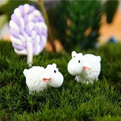 DIY Miniature White Sheep Ornaments Potted Plant Garden Decor