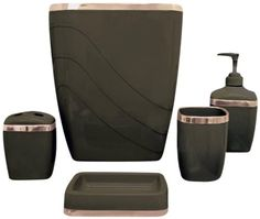 5 Piece Plastic Bath Accessory Set In Brown Includes: Wastebasket, Tumbler, Lotion Pump, Soap Dish And Toothbrush Holder. ● Perfect For Bath Accessory Set. Constructed Of Durable Plastic And Easy Cleaning. Bathroom Accessories Sets, Wedding Accessories, Table Accessories, Bathroom Soap Dispenser, Soap Dispensers, Browns Gifts, Copper Accents, Bathroom Bath, Gold Bathroom