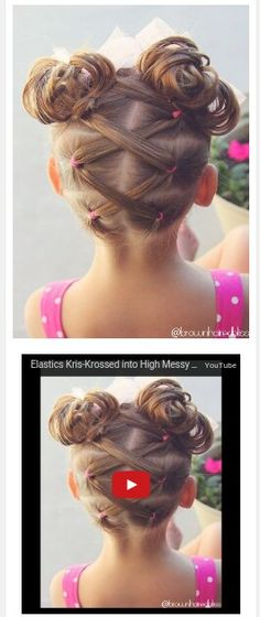 Super cute criss crossed pig tails messy bun from  @brownhairedbliss