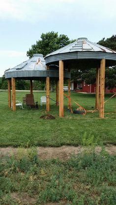 Our Grain Bin Gazebo's almost done, still need to pour cement add hot tub in one and table and chairs in other. Will post more when we are finished. -cp 3 of 3
