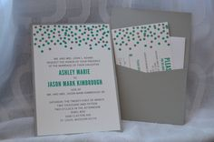 Custom polka dot wedding invitations with pocket on the back by Something Printed