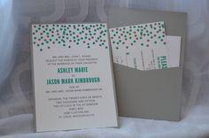 Custom polka dot wedding invitations with pocket on the back by Something Printed