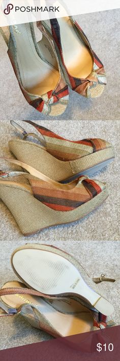 Striped Espadrille Sandals Super cute striped Espadrille sandals. Bought at a boutique store.  Only wore once. Bamboo Shoes Espadrilles