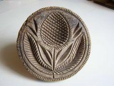 19th C. Cross-Hatch carved Flower Butter Stamp.  Butter Mold. Butter Print. AAFA #Americana