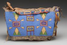 American Indian Art:Beadwork and Quillwork, A SIOUX BEADED BUFFALO HIDE TIPI BAGc. 1880