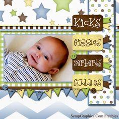 CK5 Giggles Scrapbook Bebe, Baby Girl Scrapbook, Baby Scrapbook Pages, Scrapbook Designs, Scrapbook Sketches, Scrapbook Page Layouts, Scrapbook Cards, Scrapbook Images, Free Digital Scrapbooking