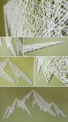 DIY String Art Mountain / Fadenwandbild Berge selber machen
