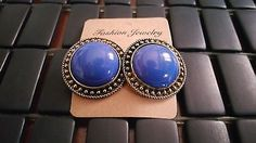 Royal Blue Trendy Vintage Style Large Round Earrings