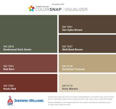 I found these colors with ColorSnap® Visualizer for iPhone by Sherwin-Williams: Rookwood Dark Green (SW 2816), Red Barn (SW 7591), Rustic Red (SW 7593), Van Dyke Brown (SW 7041), Well-Bred Brown (SW 7027), Tarnished Treasure (SW 9118), Dirty Martini (SW 9119).