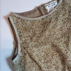 Vintage Champagne Top Vintage sequin champagne top, mixture of champagne golds and whites. Back zipper and sequins all over top. Adrianna Papell Tops Blouses