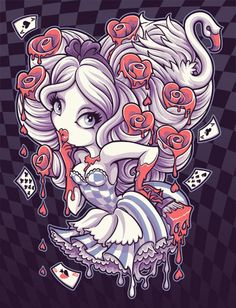 Painting The Roses by Jehsee Alice Queen of Hearts Canvas Art Print –…