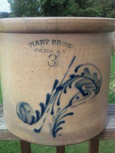 Antique Hart Bros Fulton, NY Stoneware Crock