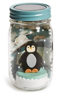 Free shipping and returns on TREE BY KERRI LEE 'Penguin' Mason Jar Light at Nordstrom.com. Add a warm glow and whimsical touch to baby's room with this charming mason jar fitted with a solar-powered LED light in the lid. Perfect as a nightlight, it will delight and comfort little ones when the hand-painted scenes come to life after dark.