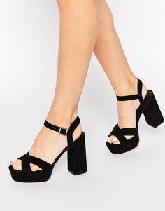 New Look   New Look Regan Cross Front Platform Heeled Sandals at ASOS