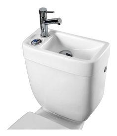 Réservoir avec lave-mains intégré - Plomberie sanitaire chauffage Narrow Bathroom, Tiny Bathrooms, Bathroom Design Small, Laundry In Bathroom, Bathroom Layout, Sink Toilet Combo, Toilet Sink, Toilet Room, Bathroom Ideas