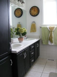 Black Painted Bathroom Cabinets @Sarah Gibbons OF HOME
