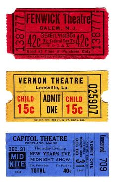 Free Printable American Vintage Theatre Tickets from around 1940's / Boulevard de L'antique