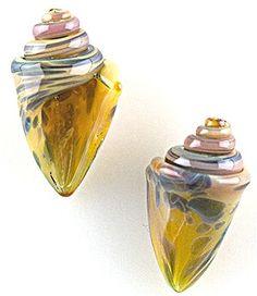 Nobilis Seashell Beads - Small - Aquatic Amber (2 beads)
