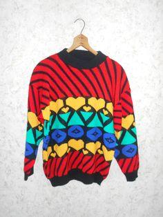 Vintage 80s Color Block Hearts Hip Hop Sweater by CoolDogVintage