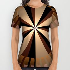 Golden beams, geometric pattern abstract All Over Print Shirt