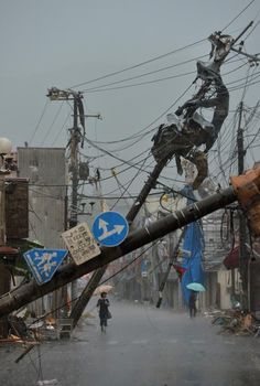 Damage caused by a tornado in Tsukuba, Ibaraki Prefecture.