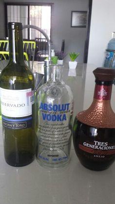 Diferentes botellas para decorar. Vodka Bottle, Drinks, Diy, Recycled Bottles, Wine Bottles, Drinking, Beverages, Bricolage, Drink