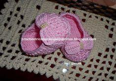 CROCHE E TRICO PARA OS PEQUENINOS: PAP sapatinho de crochê para bebe no pt Sonia Maria