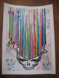 Grateful Dead Original Dripping Watercolor by MissysArtsnAntiques, $30.00