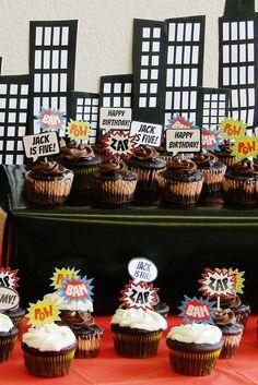 Super hero comic book cupcake toppers or stickers, custom - printable. $8.00, via Etsy.