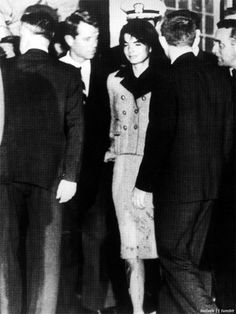 bellecs:    Jackie Kennedy with Bobby Kennedy after John F. Kennedy was shot, her suit still stained with blood from where she held his head on her lap, November 22, 1963.      This picture. Omg. Poor Jackie.