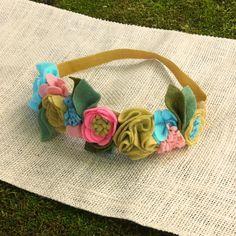 Felt Flower Crown // Coral Teal & Mustard // by fancyfreefinery, $23.50