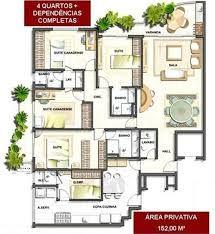 Resultado de imagem para projetos de casas terreas com 4 quartos