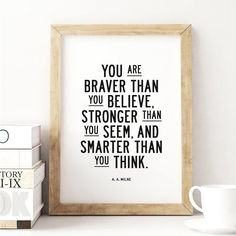You are braver than you believe http://www.amazon.com/dp/B0176LIO44  motivationmonday print inspirational black white poster motivational quote inspiring gratitude word art bedroom beauty happiness success motivate inspire