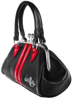 Sourpuss Bettie Page Dollface Kiss Lock Purse-Black and Red - Buy New: $64.95