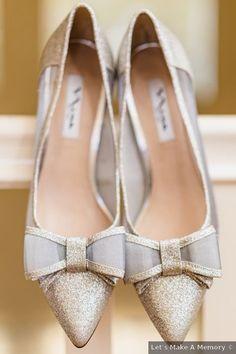 Wedding shoes ideas - gold, bow, ribbon, glitter, heels, close toe, fall, romantic {Lets Make A Memory}