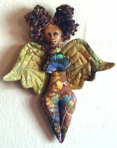 african american spirit doll   OOAK mix media by paintedthreads2, $
